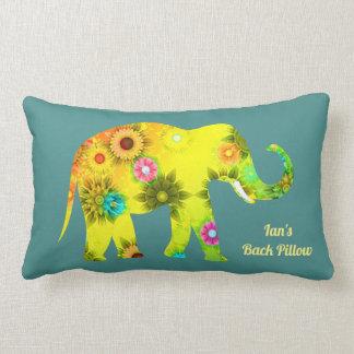 Cojín Lumbar Elefante floral psicodélico personalizado
