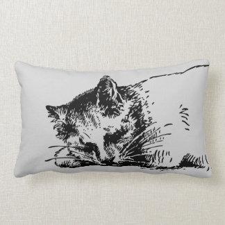 Cojín Lumbar Esquema gris del gato el dormir - tinta intrépida