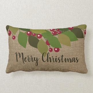Cojín Lumbar ¡Felices Navidad! falsa arpillera del | rústica