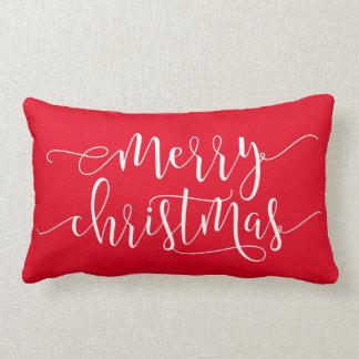 Cojín Lumbar Felices Navidad, rojo de la alegría