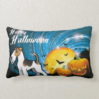 Cojín Lumbar Fox terrier del alambre del feliz Halloween