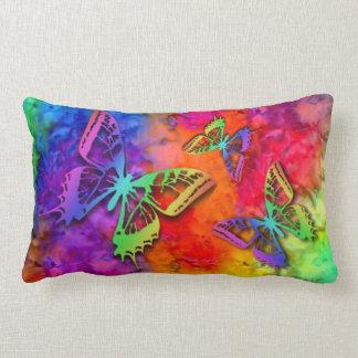 Cojín Lumbar [Fuego e hielo] teñido anudado de la mariposa de