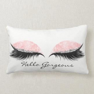 Cojín Lumbar Hola el negro color de rosa rosado magnífico azota