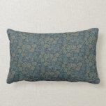 Cojín Lumbar Huerta azulverde floral del vintage de William