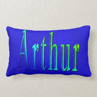Cojín Lumbar Logotipo conocido de Arturo en mosaico azul,