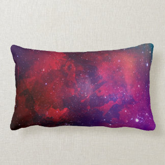 Cojín Lumbar Modelo púrpura y rojo del espacio de la acuarela