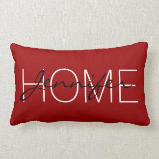 Cojín Lumbar Monograma carmesí del hogar del color rojo