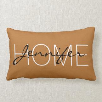 Cojín Lumbar Monograma del hogar del color de cobre