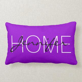 Cojín Lumbar Monograma violeta oscuro del hogar del color