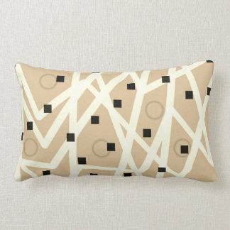 Cojín Lumbar moreno y blanco modernos geométricos abstractos de