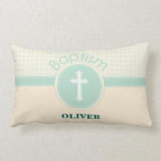 Cojín Lumbar Niño del bautismo de dios, verde neutral del