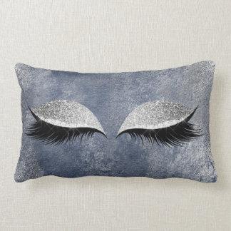 Cojín Lumbar Ojo azul de plata del maquillaje de los latigazos
