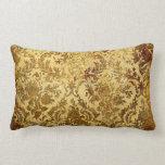 Cojín Lumbar Oro, rústico, vintage, antigüedad, damasco,