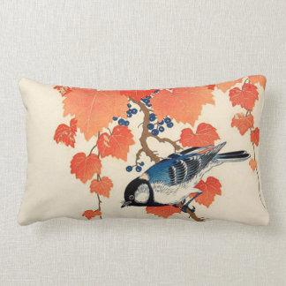 Cojín Lumbar Pájaro de Jay del japonés del vintage y vid del