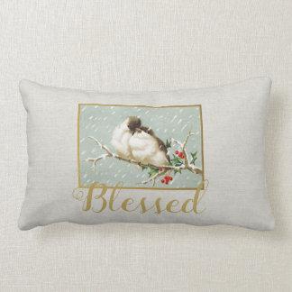Cojín Lumbar Pájaros bendecidos de la nieve del vintage del