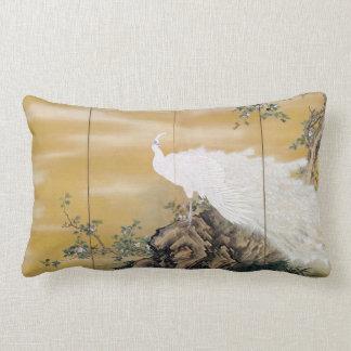 Cojín Lumbar Peafowl del blanco de Mochizuki Gyokkei
