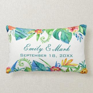 Cojín Lumbar Personalizado floral tropical del boda