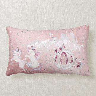 Cojín Lumbar Plata bonita del rosa del unicornio de la acuarela
