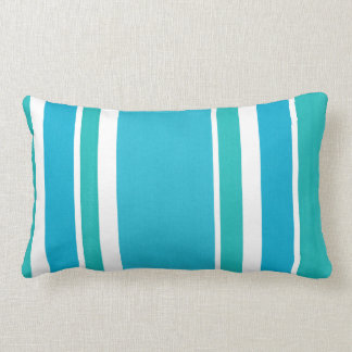 Cojín Lumbar Rayas azules del blanco de la turquesa