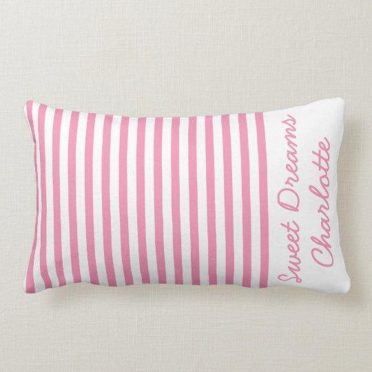 Cojín Lumbar Rayas rosadas y blancas felices personalizadas