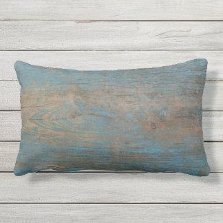 Cojín Lumbar Textura de madera de la falsa playa azul