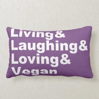 Cojín Lumbar Vida y risa y amor y vegano (blancos)