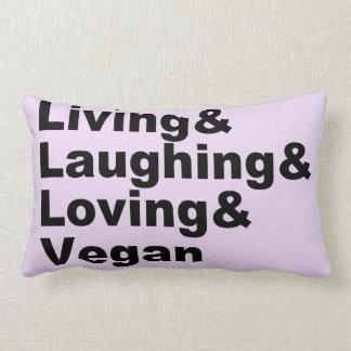 Cojín Lumbar Vida y risa y amor y vegano (negro)