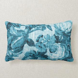 Cojín Lumbar Vintage verde azulado Toile floral de las azules