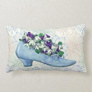 Cojín Lumbar Zapato azul del Victorian floral