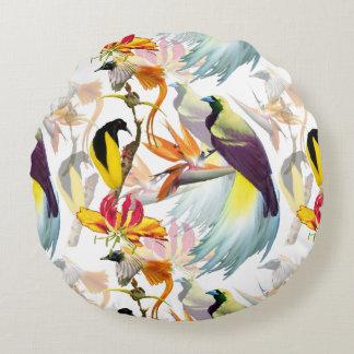 Cojín Redondo Acuarela exótica de las aves del paraíso y de las