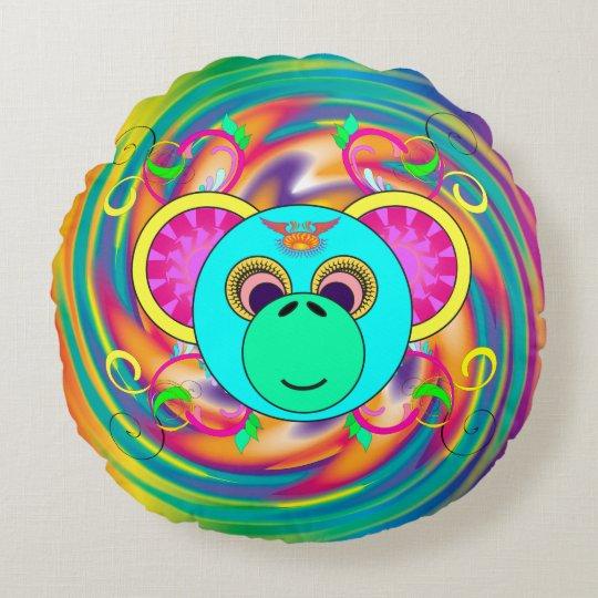 Cojín Redondo Animal psicodélico colorido del arco iris del mono