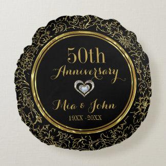 Cojín Redondo Aniversario de boda elegante del negro y del oro