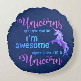 Cojín Redondo Arco iris en colores pastel soy un unicornio
