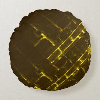 Cojín Redondo Armadura geométrica amarilla rústica del batik de
