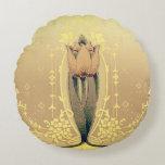 Cojín Redondo Art Nouveau tulipán floral rosa y dorado elegante