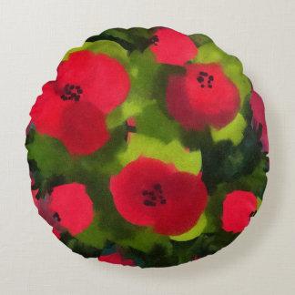 Cojín Redondo Arte floral perfecto pintado de las amapolas el  