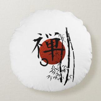 Cojín Redondo Bambú del enso de Kanji_zen
