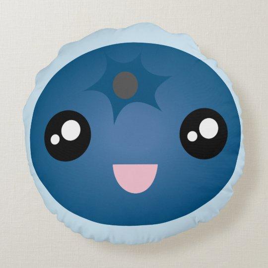 Cojín Redondo Baya azul Emoji de la cara sonriente feliz linda