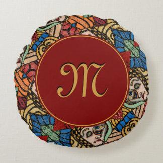Cojín Redondo Belleza abstracta con monograma moderna de la moda