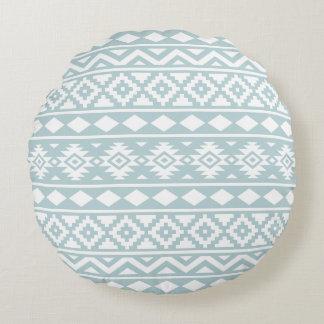 Cojín Redondo Blanco azteca de Ptn III de la esencia en azul del