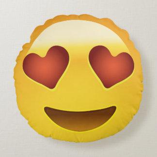 Cojín Redondo Cara sonriente con los ojos en forma de corazón