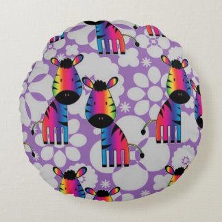 Cojín Redondo Cebra del arco iris