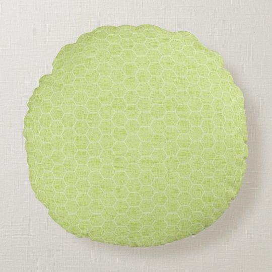 Cojín Redondo Colmena verde clara de la primavera y del verano