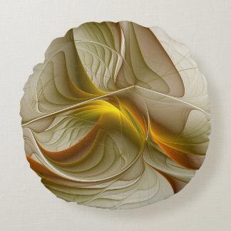 Cojín Redondo Colores de metales preciosos, arte abstracto del