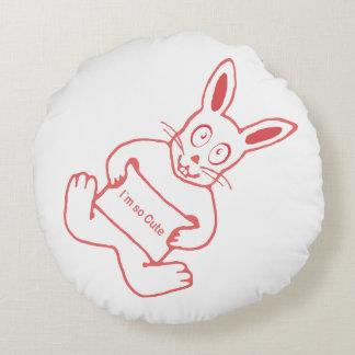 Cojín Redondo Conejo lindo con la bandera tan linda del texto de