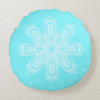 Cojín Redondo Copo de nieve en azul brillante