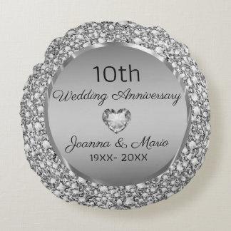 Cojín Redondo Diamantes y 10mo aniversario de boda de la plata