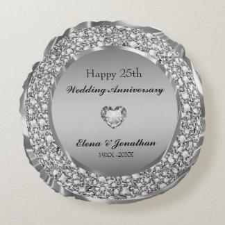 Cojín Redondo Diamantes y 25to aniversario de boda de la plata