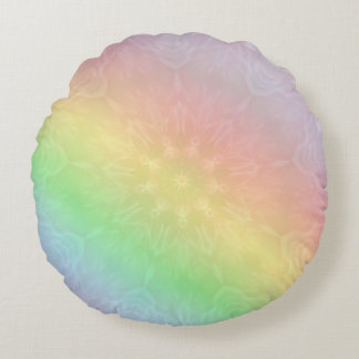 Cojín Redondo Diseño en colores pastel de la mandala del arco