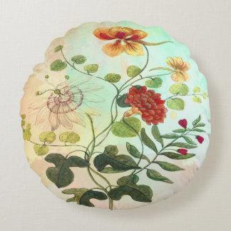 Cojín Redondo El ejemplo botánico floral del vintage florece